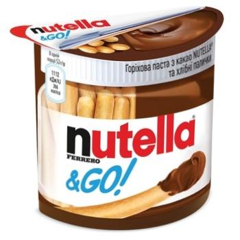 Ореховая паста с какао Nutella и Хлебные палочки (Nutella&Go) 52г - купить, цены на Метро - фото 1