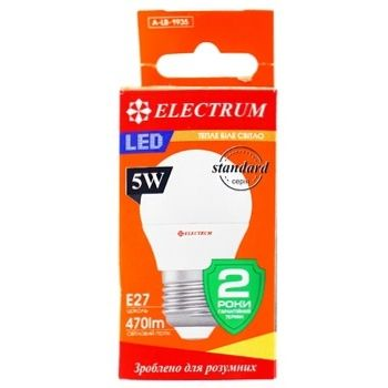 Лампа Electrum светодиодная сфера D45 5W PA LB-31 Е27 3000 A-LB-1935 - купить, цены на Ашан - фото 1