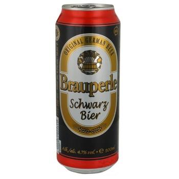 Пиво Brauperle темное фильтрованное пастеризованное 4,7% 0,5л