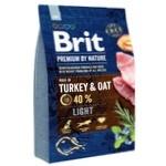 Корм Brit Premium Light со вкусом индейки для собак с избыточным весом 3кг