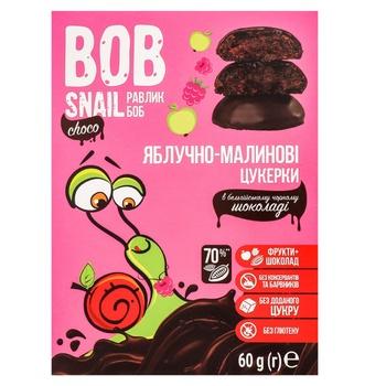 Цукерки Bob Snail яблучно-малинові в чорному шоколаді без цукру 60г - купити, ціни на МегаМаркет - фото 1