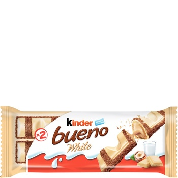 Kinder Bueno White Wafer With Milky And Nut Filling Covered With White Chocolate Waffers 39g - buy, prices for MegaMarket - image 1
