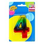 Свеча для торта Веселая затея цифра 4 8см