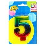 Свеча для торта Веселая затея цифра 5 8см
