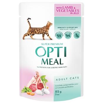 Корм ОптіМіл для дорослих котів з ягням та овочами в желе 85г - купити, ціни на Метро - фото 1