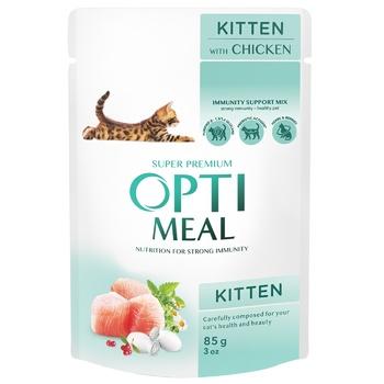 Корм ОптіМіл курка для кошенят 85г - купити, ціни на CітіМаркет - фото 1