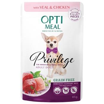 Корм ОптиМил Беззер телятина и куриное филе в соусе для собак 85г