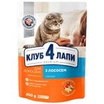 Корм Клуб 4 лапы Премиум с лососем для взрослых котов 300г