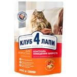 Корм Клуб 4 лапы Премиум для взрослых кошек с эффектом выведения шерсти 300г