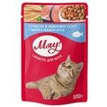Корм Мяу для взрослых кошек Рыбное ассорти в нежном соусе 100г