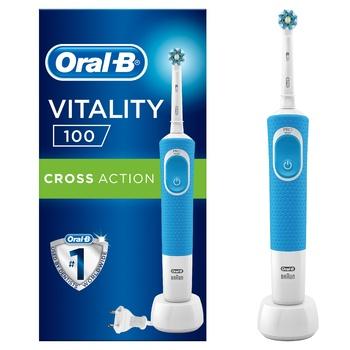 Электрическая зубная щетка Oral-B D100 Vitality CrossAction синяя