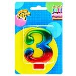 Свеча для торта Веселая затея цифра 3 8см