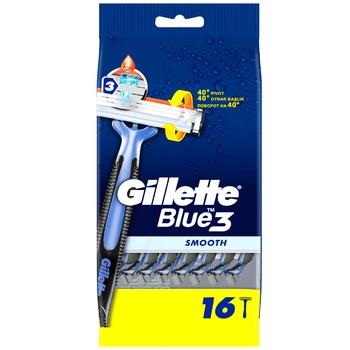 Бритва Gillette Blue3 Smooth одноразовые 16шт - купить, цены на Ашан - фото 2