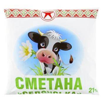 Сметана 21% ПЕТ Народна 380г - купити, ціни на Фуршет - фото 1