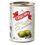 Оливки Diva Oliva зеленые с анчоусом 300г