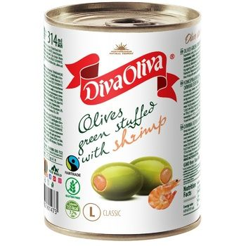 Diva Oliva Green Olives stuffed with shrimps 300g
