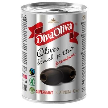 Diva Oliva Supergiant Pitted Olives 425ml