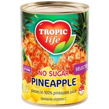 Ананас кусочками Tropic Life в собственном соку 580мл - купить, цены на Фуршет - фото 1
