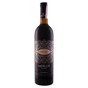 Вино Cricova Мерло червоне напівсолодке 9-13% 0,75л