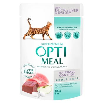 Opti Meal Sensitive Duck Liver In Apple Jelly With Hair Removing Effect Cats Food 85g