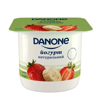 Йогурт Данон Полуниця-банан 2% 135г