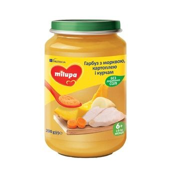 Milupa Puree Pumpkin with Carrots, Potatoes and Chicken from 6 months 200g - buy, prices for Auchan - photo 1