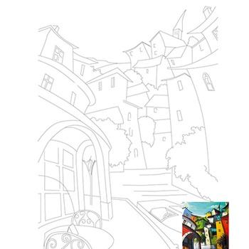 Холст на картоне Rosa Start Пейзаж №15 с контуром 30х40см