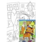 Rosa Start Cartoon #28 Cat on a Walk Canvas on Cardboard with an Outline 20х30cm
