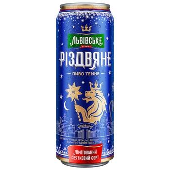 Lvivske Rizdvyane Dark Beer Can 4,4% 0,5l - buy, prices for Auchan - photo 1