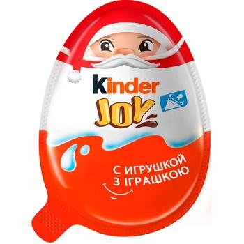 Яйцо Kinder Joy Классический с двухслойной пастой на основе молока и какао и вафельными шариками покрытыми какао с молочным кремом внутри и с игрушкой 20г - купить, цены на Ашан - фото 1