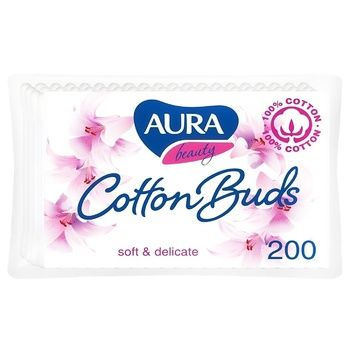 Палочки ватные Aura beauty Cotton Buds 200шт - купить, цены на ЕКО Маркет - фото 1