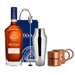 Набір подарунковий №4 Бренді Metaxa 12* 40% 0,7л + барна ложка + шейкер + подарунковий пакет + кружки 2шт