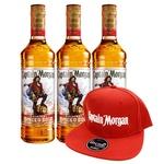 Набор подарочный №12 Ром Captain Morgan Original Spiced Gold 35% 1л 3шт + брендированная кепка