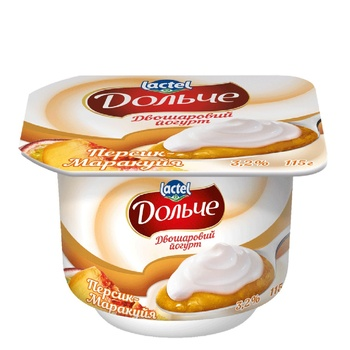 Йогурт Дольче двухслойный персик-маракуйя 3,2% 4х115г