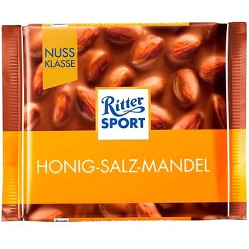 Шоколад молочный Ritter Sport Медовый солёный миндаль 100г