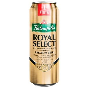 Пиво Kalnapilis Royal Select светлое ж/б 5.6% 0,568л
