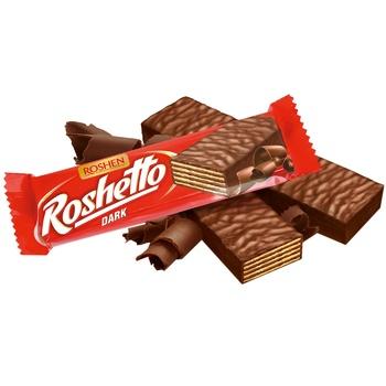 Батончик вафельний Roshen Roshetto Dark в шоколадній глазурі 32г - купити, ціни на CітіМаркет - фото 1