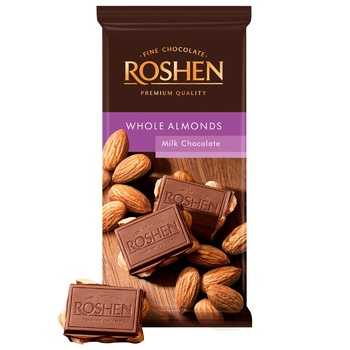 Roshen with whole almonds milk chocolate 90g - buy, prices for Furshet - image 1