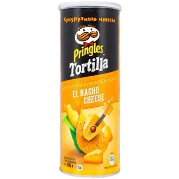Чипсы Pringles Tortilla кукурузные со вкусом сыра Начо 160г