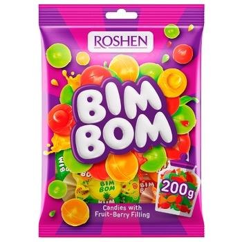 Конфеты Roshen Бим-Бом карамель с фруктово-ягодной начинкой 200г - купить, цены на СитиМаркет - фото 1
