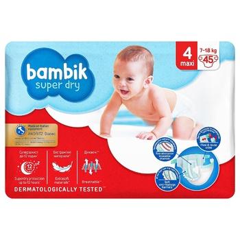 Подгузники Bambik Jumbo Maxi 4 7-18кг 45шт - купить, цены на СитиМаркет - фото 1