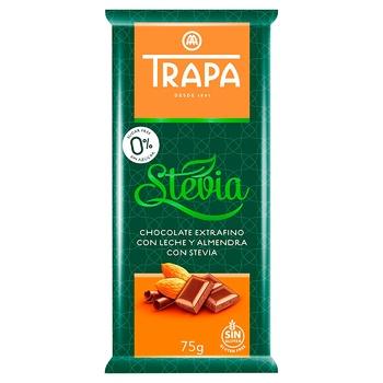 Шоколад Trapa молочный с миндалем и стевией 75г