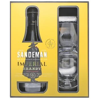 Бренди Sandeman Imperial Jerez + 2 бокала 40% 0,7л - купить, цены на СитиМаркет - фото 1