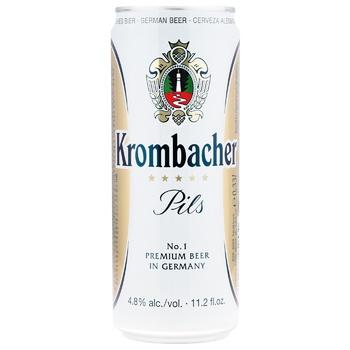 Пиво Krombacher Pils светлое ж/б 4.8% 0.5л - купить, цены на Ашан - фото 1