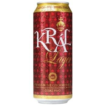 Пиво Kral Lager светлое фильтрованное 4,7% 0,5л - купить, цены на СитиМаркет - фото 1