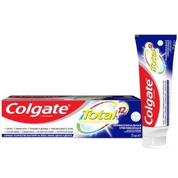 Зубная паста Colgate Total 12 Профессиональная Отбеливающая комплексная антибактериальная 75мл - купить, цены на Фуршет - фото 1
