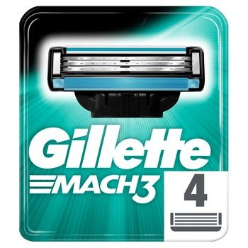 Gillette Mach 3 Replaceable Shaving Cartridges 4pcs - buy, prices for EKO Market - photo 1