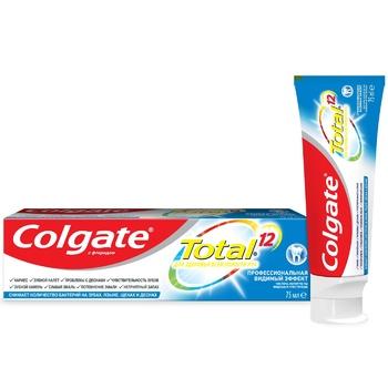 Зубная паста Colgate Total 12 Профессиональная Видимый Эффект комплексная антибактериальная 75мл - купить, цены на Фуршет - фото 1