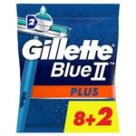 Бритви Gillette Blue II Plus одноразові 8+2шт
