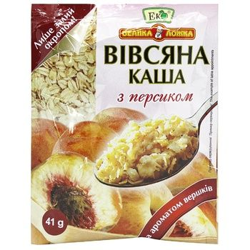 Eko Velyka Lozhka Oatmeal Porridge with Peach and Cream 41g - buy, prices for EKO Market - photo 1